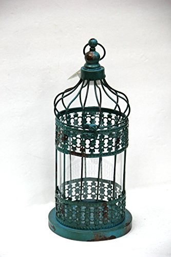 Vintage Finish Bird Cage Candle Holder- Blue