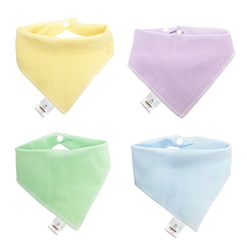 MICHLEY 100% Organic Cotton Baby Bibs Burp Cloths Set 4 Pack, Premium Soft Absorbent Feeding Drool Teething Triangle Scarves, Adjustable with Snap Buttons (Series 1)