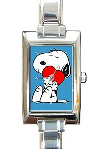 Snoopy has a Valentine Rectangular Italian Charm Watch with Stainless Steel 16 Link Wrist Strap Peanuts Charlie Brown