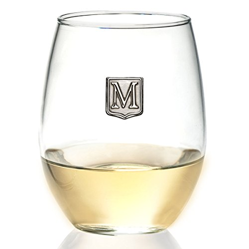 Fine Occasion Personalized Stemless Wine Glass with Letter Crest (M, 21 oz)