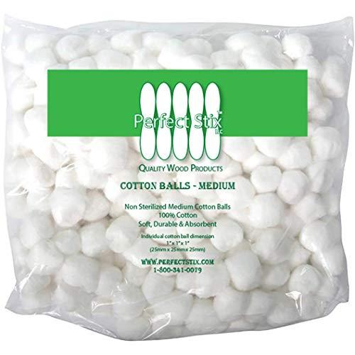 Perfect Stix Cotton Balls M-500ct Medium Sized Cotton Balls (Pack of 500) ()