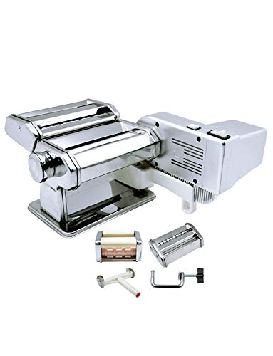 Shule Pasta Maker Machine Includes Motor Hand Crank and Multifunctional Rollers...