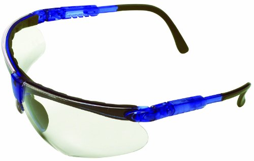 Safety Works 10041055 Padded Brow Guard Safety Glasses, Blue Frame, Clear - Safety Custom Glasses