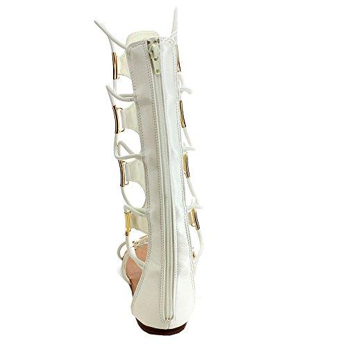 Beston Forever Katia-4 Dames Comfort String Design Midcalf Gladiator Sandalen Wit Met Ritssluiting Achterzijde