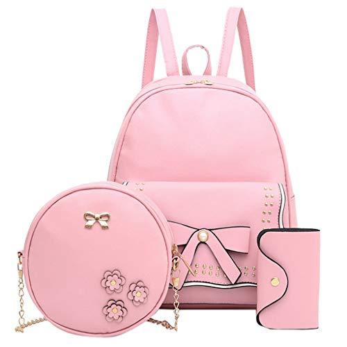 Gopeak Backpacks for Girls in Middle School Women Bookbag Student Solid Color Shoulder Bag + Messenger Bag+ Pen Bag