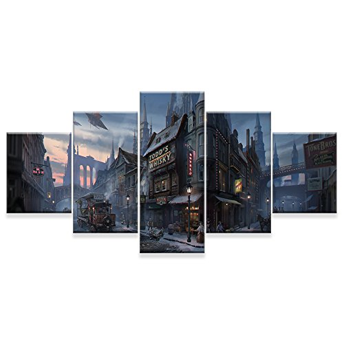 [Small] Premium Quality Canvas Printed Wall Art Poster 5 Pieces / 5 Pannel Wall Decor Whisky Shop Painting, Home Decor Pictures - With Wooden Frame (Wooden Furniture Shops)