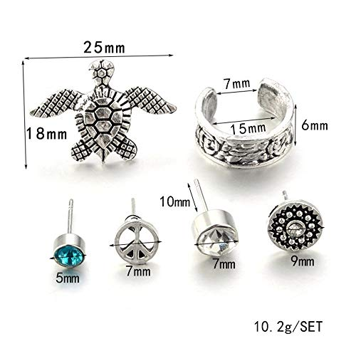 Silver Zircon 6Pcs/Set Earrings Turtle Geometric ()
