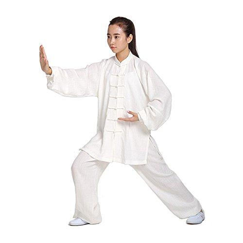 ZooBoo Unisex Womens Linen Kung Fu Tai Chi Uniform Martial Arts Wear (White, XS)