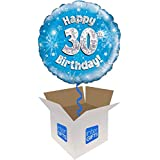InterBalloon Helium Inflated Happy 30th Birthday Blue Holographic Balloon Delivered In A Box