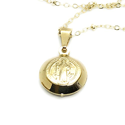 (LESLIE BOULES San Benito Necklace 18.5 Inches Dainty Medal 18K Gold Plated)