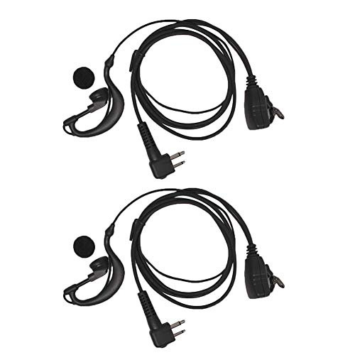 G Shape Headset for Motorola CP200 CP200D CP200XLS BPR40 RDU2020 RDU2080D RDU4160D RDV2020 RDV5100 PR400 CLS1110 CLS1410 GP300 AXU4100 P1225 2 Pack 2-Pin Single Wire Earhook Earpiece PTT with Mic