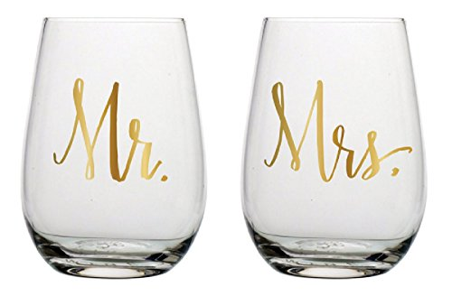 Slant Mr & Mrs Stemless Wine Glasses- Set of 2 by Slant (Image #1)