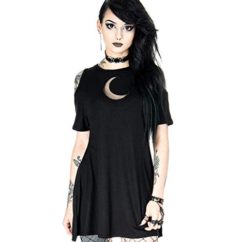 Womens Gothic Style Dresses Punk Black Retro Cold Shoulder Creative Moon Hollow Out Dress
