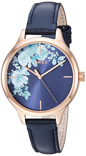 - Timex Women's TW2R66700 Crystal Bloom Blue/Rose Gold Floral Accent Leather Strap Watch
