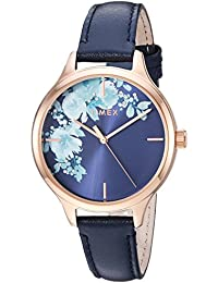 Women's TW2R66700 Crystal Bloom Blue/Rose Gold Floral Accent Leather Strap Watch