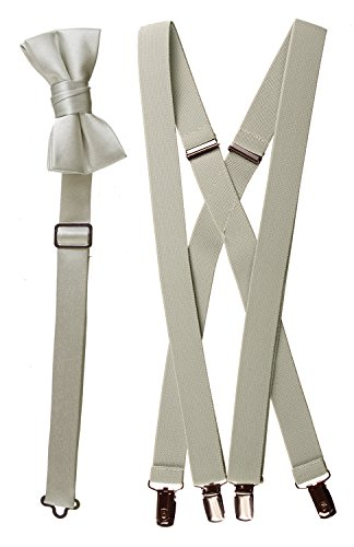 Bow Tie and Suspender Set Combo in Men's & Kids Sizes (25'', Light Grey) by Tuxgear