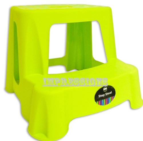 CHILDRENS KIDS 2 STEP UP STOOL TOILET POTTY TRAINING KITCHEN BATHROOM Lime Green By Impressions