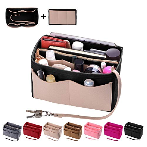 Purse Organizer Insert, Felt Bag organizer with zipper, Handbag & Tote Shaper, Fit LV Speedy, Neverfull, Longchamp, Tote (X-Large, Beige and Black)
