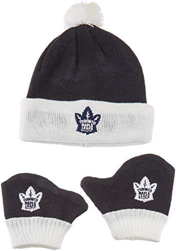 OTS NHL Toronto Maple Leafs Pow Knit Cap & Mittens Set, Navy, Infant ()