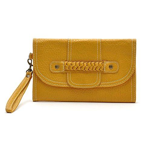 Women's Organizer Card Wallet FanCarry PU Leather Braid Wristlet Clutch Handbag (Lemon) (Handle Satchel Braid)