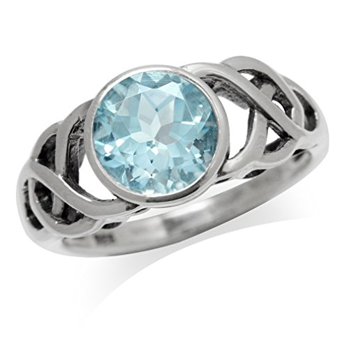(2.31ct. Genuine Blue Topaz White Gold Plated 925 Sterling Silver Celtic Knot Solitaire Ring Size 12)