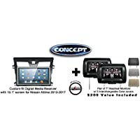 Concept FFMS-10L Custom-Fit Digital Media Receiver w/ 10.1 screen NIS-ALT-10 for Nissan Altima (2013-2017) & Pair of CLS703 7 Headrest Monitors w/ 3 color covers & a FREE SOTS Air Freshener Included