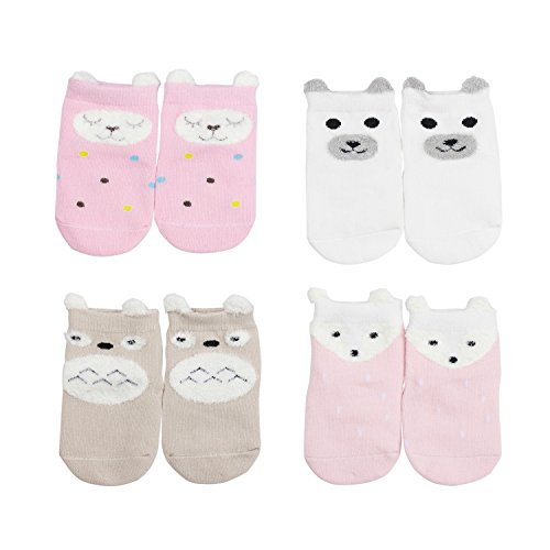 MBLC Kids Socks, Non-Skid Non-Slip Comfortable Thick Cotton Baby Girl Socks 4 Pairs (S 0-1Year)