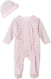 Spasilk 2 Piece Sleepwear With Hat - Girl Stripe Print, Pink, Premature