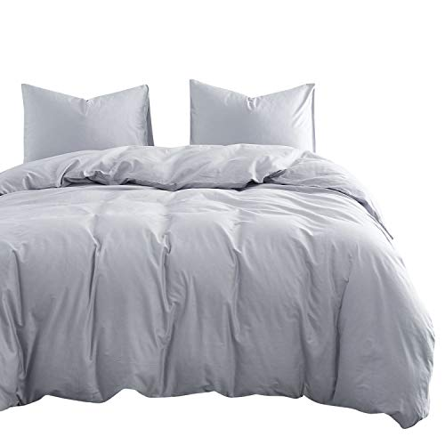 Wake In Cloud – Light Gray Cotton Duvet Cover Set, 100% Cotton Bedding, Simple Modern Soft Solid Plain Color Grey, Zipper Closure and Corner Ties (3pcs, Twin Size)