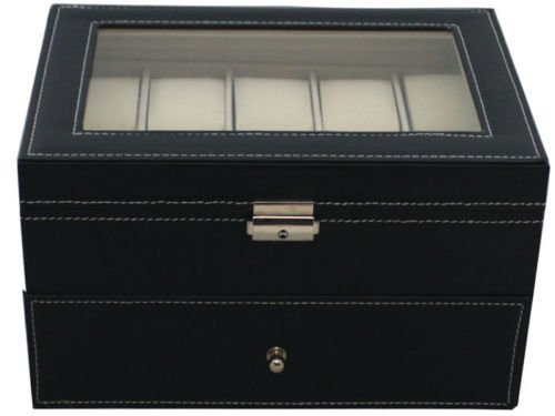 Generic YC-US2-160128-53 <8&29491> izer Lg Display Ca Watch Display Case Black Leather Glass Top Jewerly 20 Grid Mens Box Organizer Lg Black Leath by Generic
