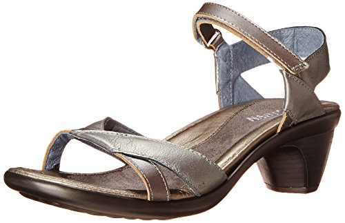 Naot Women's Cheer Wedge Sandal, Sterling Leather/Mirror Leather, 40 EU/8.5-9 M US by NAOT