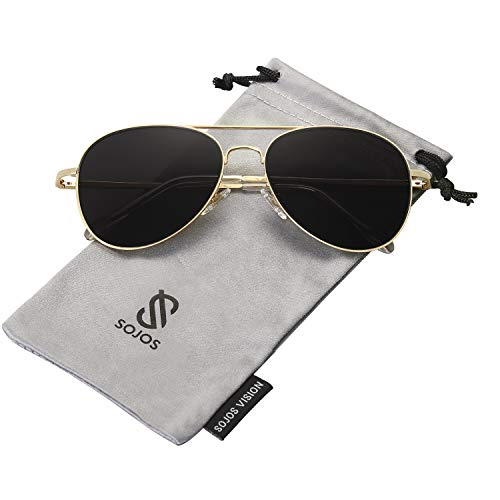(SOJOS Classic Aviator Mirrored Flat Lens Sunglasses Metal Frame with Spring Hinges SJ1030 with Gold Frame/Grey Lens)