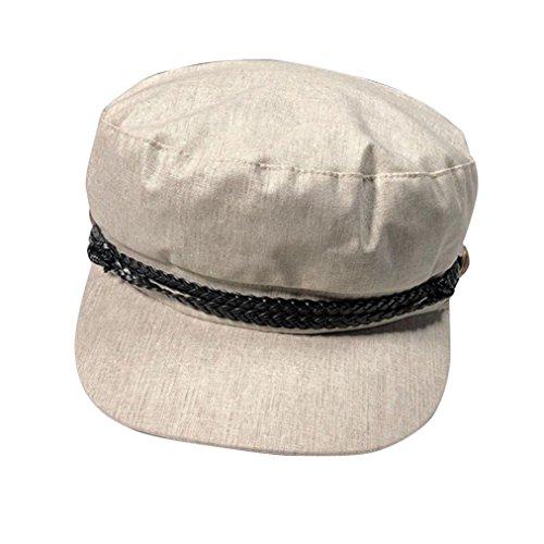 (SUKEQ Summer Plain Newsboy Gatsby Apple Cabbie Beret Cap for Women Belt Virsor Bill Hat (Beige))