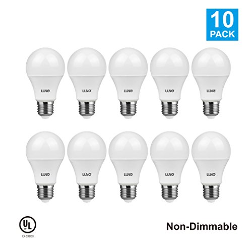 LUNO A19 Non-Dimmable LED Bulb, 6.0W (40W Equivalent), 450 Lumens, 5000K (Daylight), Medium Base (E26), UL Certified (10-Pack) 40w Lumens
