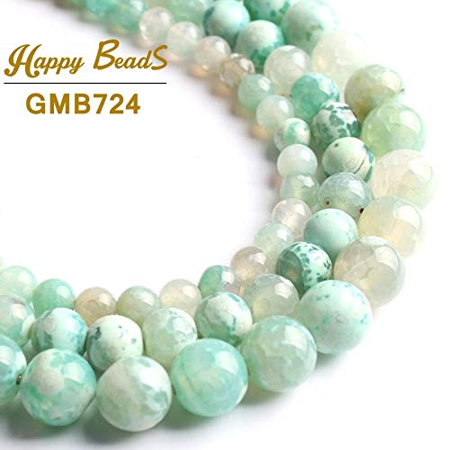Calvas Natural Stone Beads Mint Green Fire Agates Onyx Round Loose Beads for Jewelry Making 15''Strand 6/8/10mm DIY Bracelets Necklaces - (Item Diameter: 8mm 46pcs Beads)