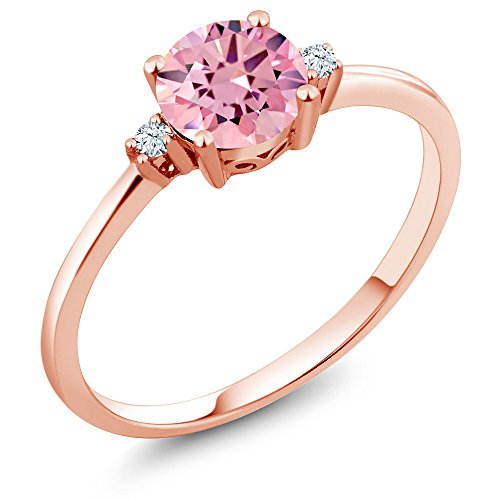 Gem Stone King 10K Rose Gold Engagement Solitaire Ring set with 1.53 Ct Round Pink Zirconia and White Created Sapphires (Size 7)