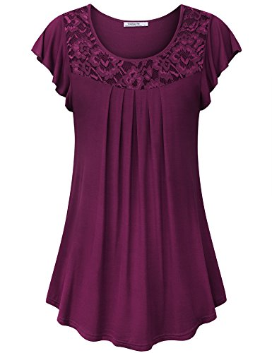Youtalia Tunics for Women, Juniors Summer Tops Trendy Short Sleeve Stretchy Lightweight Elegant Lace Tops for Women,Dark Red Large ()