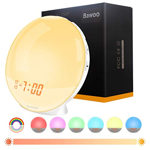 Alarm Clock Light Softness LED Dawn Simulator Bawoo Clock Lamp Radio Alarm Clock Bedside with 2 Alarms 8 Sounds 20 Brightness for Baby Bedroom