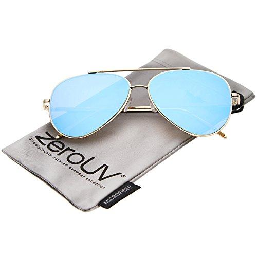 zeroUV - Mod Fashion Teardrop Rimless Mirror Flat Lens Metal Frame Aviator Sunglasses 58mm (Gold / Blue - Flat Mirror