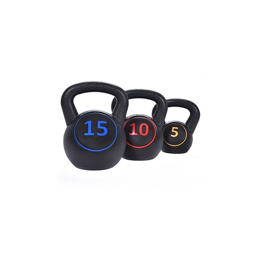 Giantex Home Gym 3 Pcs Vinyl Kettlebell Kit Body Muscles Training Weights 5 10 15lbs Set