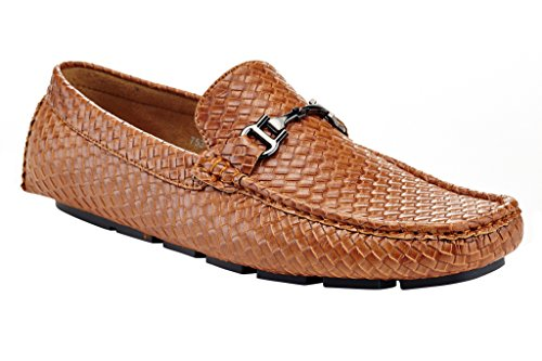 Adolfo Mens Embossed Slip On Loafer Woven Business Classic Formal Driving Dress Shoes Tan wBNF8