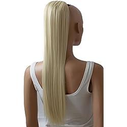 "PRTTYSHOP Hair Piece Pony Tail Extension Draw String Voluminous Curly Heat-Resisting 26"" cm platinum blonde # 613A PH614"