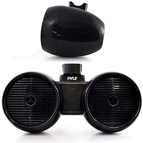"Waterproof Marine Wakeboard Tower Speakers - 6.5"" Dual Subwoofer Speaker Set and 1.0"" Tweeters, LED Lights and 400 Watt Power - 2-Way Boat Audio System with Mounting Bracket - PLMRWB652LEB (Black)"