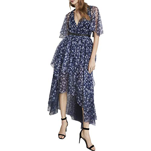 BCBG Max Azria Kaleidoscope Jewels Womens Floral V-Neck Maxi Dress Navy Size 6