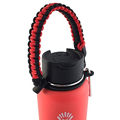 Gearproz Handle for Hydro Flask Water Bottle - America's #1 Paracord Carrier with Safety Ring Holder - Fits Wide Mouth Bottles 12 oz to 64 oz - Top Ratings, 30+ Colors