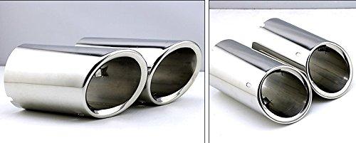 Lot de 2 tuyaux dextension en acier inoxydable pour tuyau d/échappement Argent/é pour Tiguan 2008 2009 2010 2011 2012 2013 2014 2015 2016
