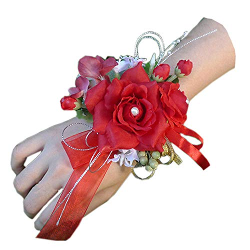 Arlai Pack of 1, Bridal Wrist Corsage Wedding Party Prom Bridesmaid Flower Bracelet Red