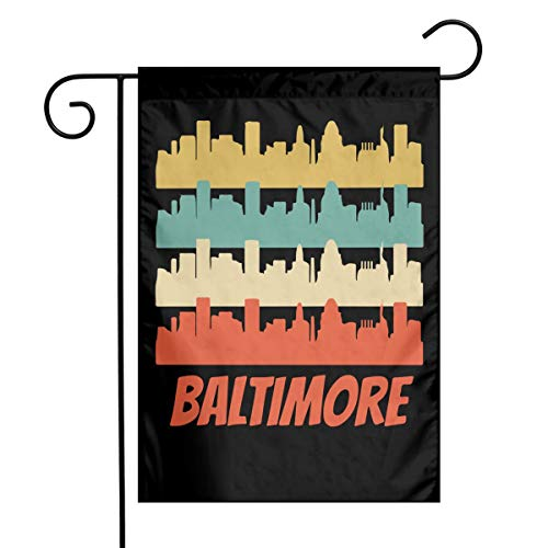 Retro Baltimore MD Skyline Custom Outdoor/Home Garden Flag Celebration Garden Flag 12