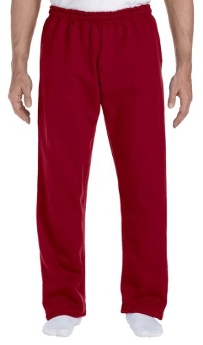 Gildan Men's Lined Elastic Waist Open Bottom Sweatpant, Cardinal Red, Large