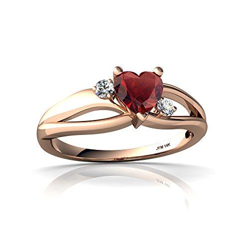 - 14kt Rose Gold Garnet and Diamond 5mm Heart Split Band Swirl Ring - Size 4.5